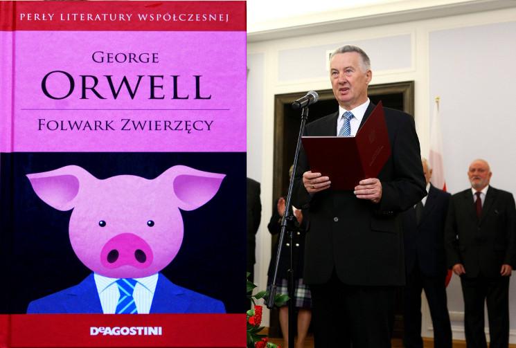 """Okładka jednego z wydań """"Folwarku Zwierzęcego"""" i przewodniczący PKW Stefan Jaworski (po prawej)"""