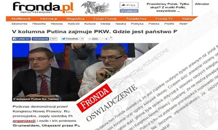 Wydawnictwo Fronda odcina się od portalu fronda.pl