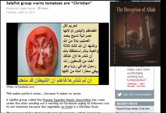 """Islamscy radykałowie na wojnie z pomidorem. """"Wychwala krzyż!"""""""