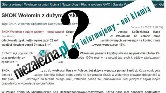 niezalezna.pl usuwa ze swojego portalu przychylne SKOK Wołomin artykuły