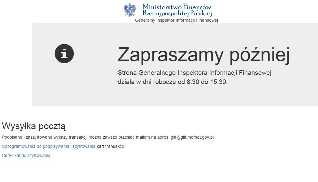 Strona Ministerstwa Finansów działa tylko w godzinach pracy urzędu