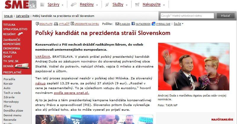 Słowackie media oburzone, że kandydat na polskiego prezydenta straszy ich krajem