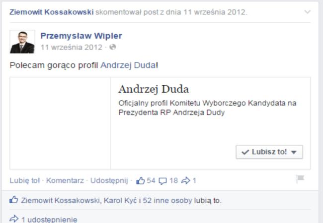 Trolling na profilu Wiplera. Poszło o udostępnienie profilu Dudy