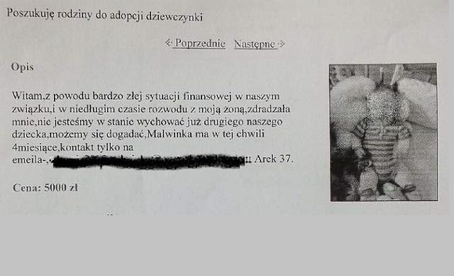 Chciał sprzedać 4-miesięczną córkę za 5 tys. zł