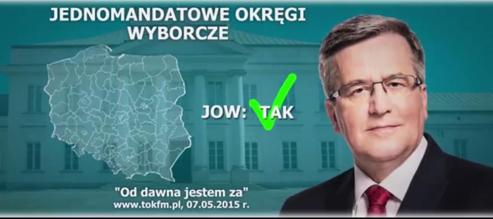 """Nowy spot Komorowskiego """"Jestem za JOW-ami"""" Przejmie wyborców Kukiza?"""