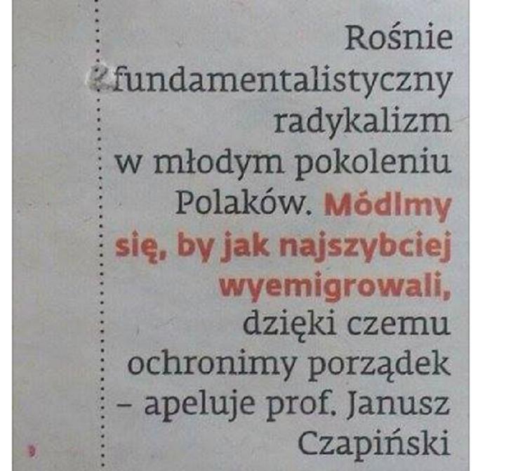 Znany socjolog: módlmy się za emigrację młodych radykalnych Polaków