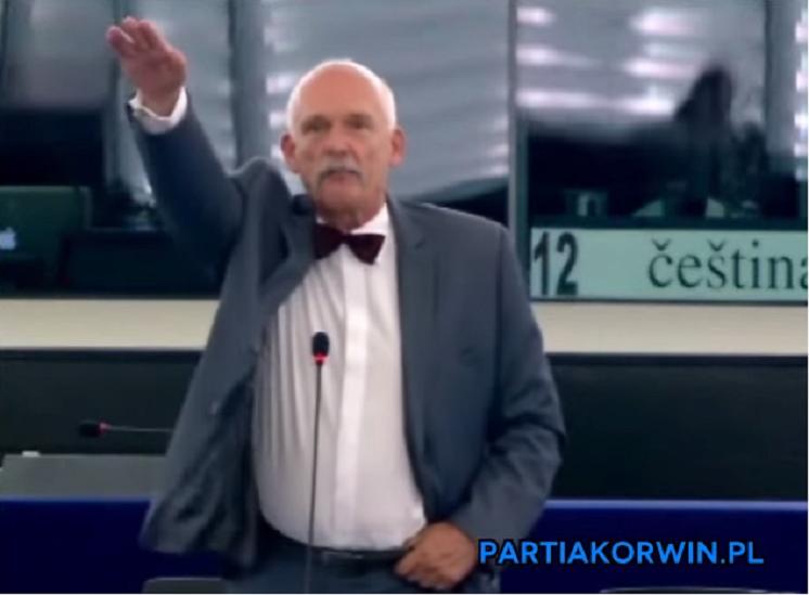 Korwin-Mikke znów szokuje, hajluje na posiedzeniu PE (video)