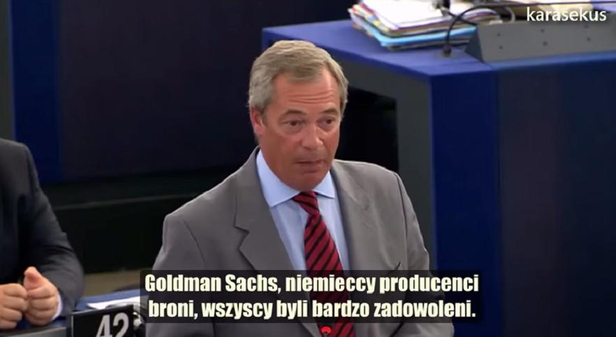 """Farage ostro w PE o strefie euro """"brukselskie bandziory"""", """"nowy mur berliński to euro"""""""