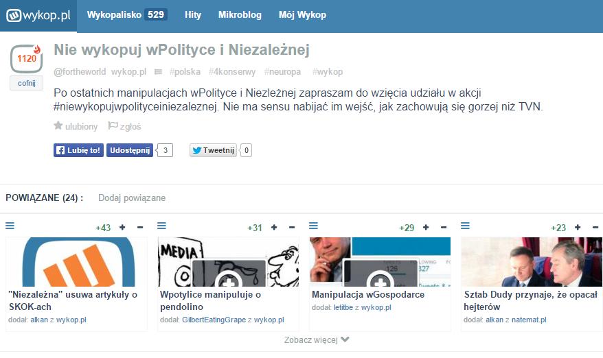 Wykop bojkotuje niezależną.pl i wPolityce.pl. Za kłamstwa i manipulacje