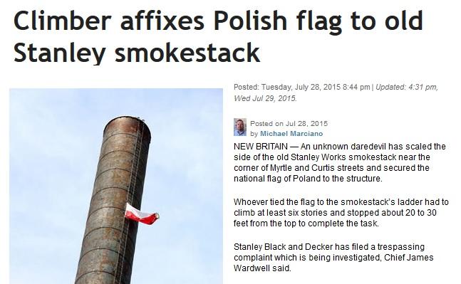 USA: Zawiesili polską flagę nad miastem ku czci powstańców. Szuka ich policja