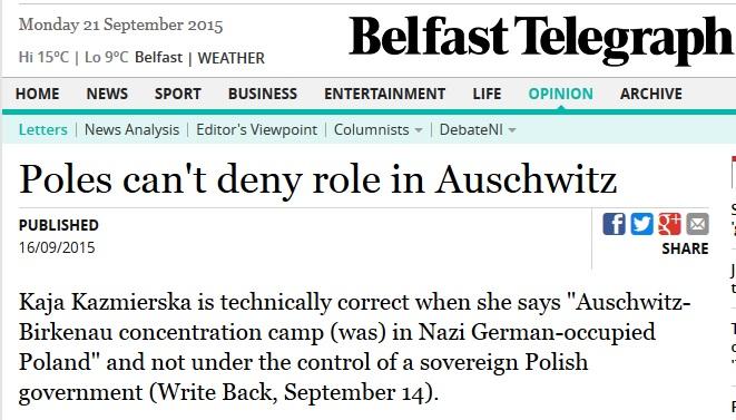 Irlandzka gazeta: Polacy nie mogą zaprzeczyć swojej roli w Auschwitz