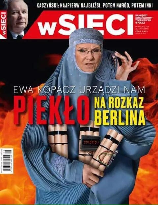 Ewa Kopacz jako islamska terrorystka na okładce tygodnika