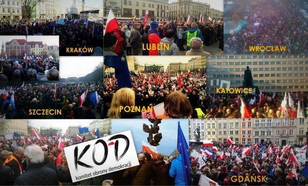 KOD manifestował w polskich miastach. Alarm bombowy i tysiące ludzi
