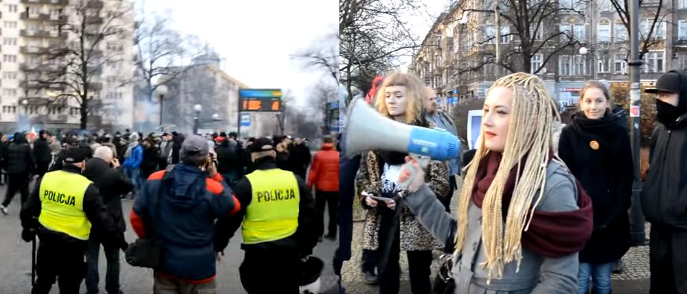 Narodowcy przerwali proimigrancką manifestację Polaków i Niemców w Szczecinie (video)