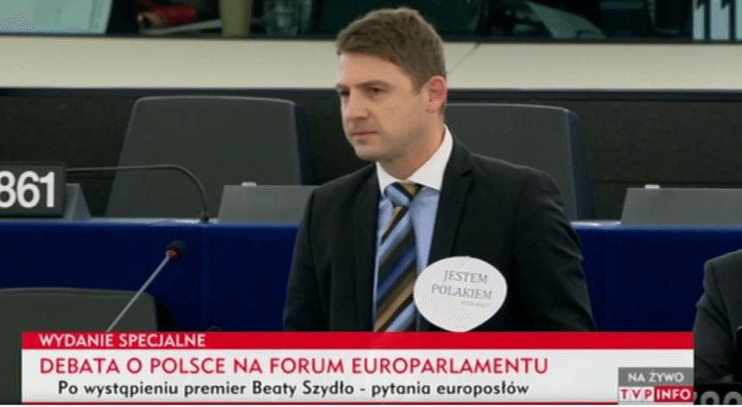 Happening czeskiego posła w Europarlamencie: Jestem Polakiem (video)