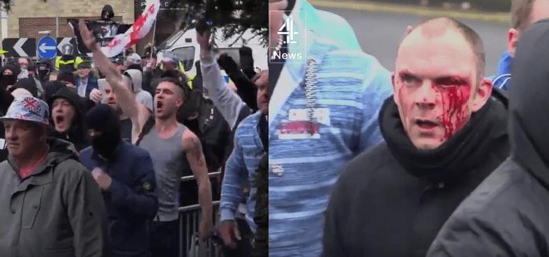 UK: Neonaziści dostają potężne lanie. Obroniła ich policja (video)