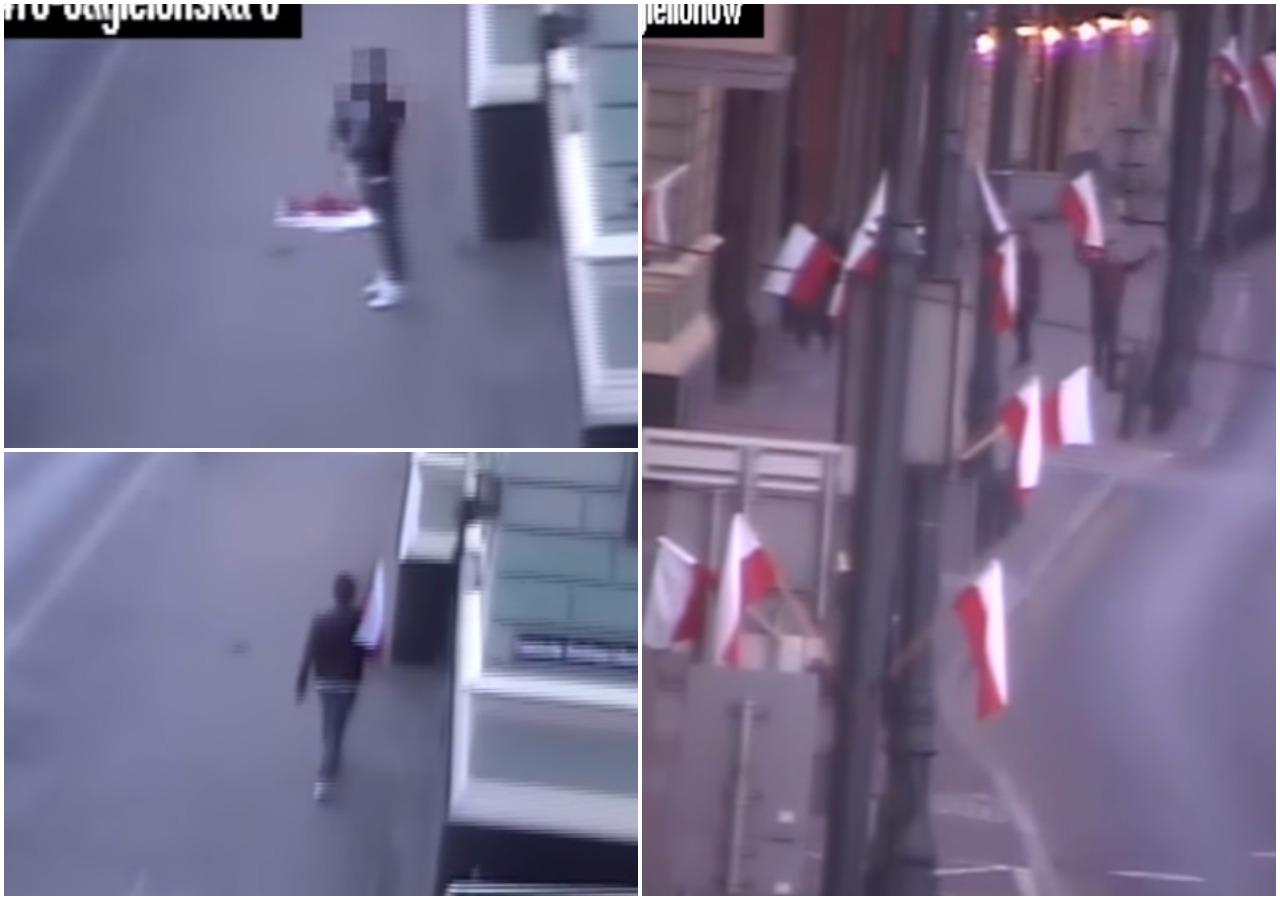 Pijany Niemiec zbezcześcił polską flagę (video)