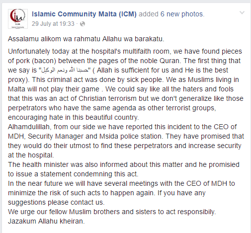 źródło: facebook.com/Islamic-Community-Malta