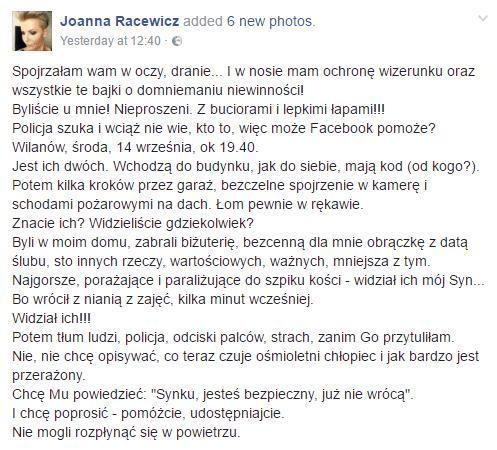 źródło: facebook.com/joanna.racewicz.3