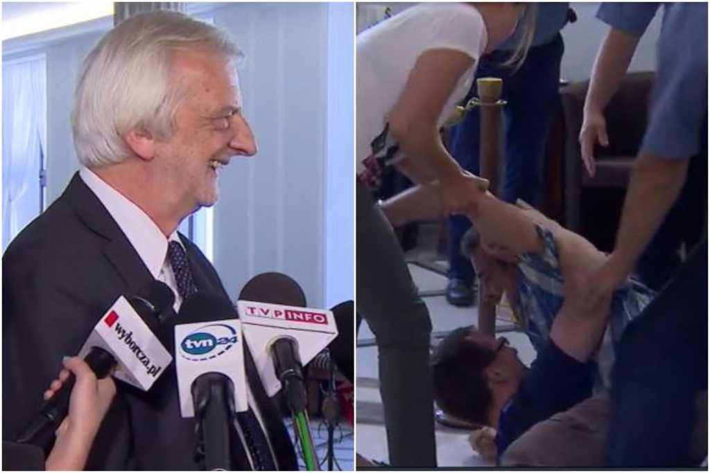 Bójka w Sejmie na konferencji. Dopiero pięciu strażników dało mu radę (video)