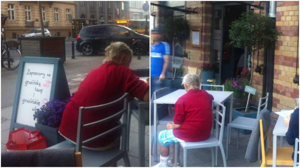 Staruszka chciała tylko odpocząć przy stoliku w restauracji. Kelner swoim gestem wzruszył internautów