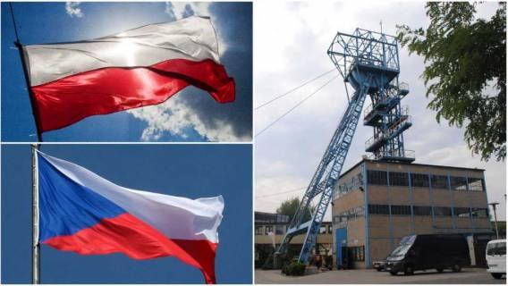 Flagi Polski i Czech & Kopalnia
