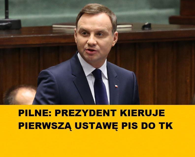 Pilne: Andrzej Duda skierował pierwszą ustawę PiS do Trybunału Konstytucyjnego