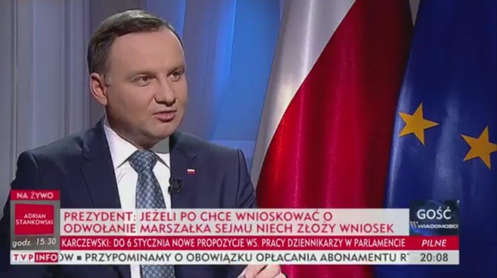 Prezydent: Protestujący powinni przeprosić prezesa Kaczyńskiego (video)