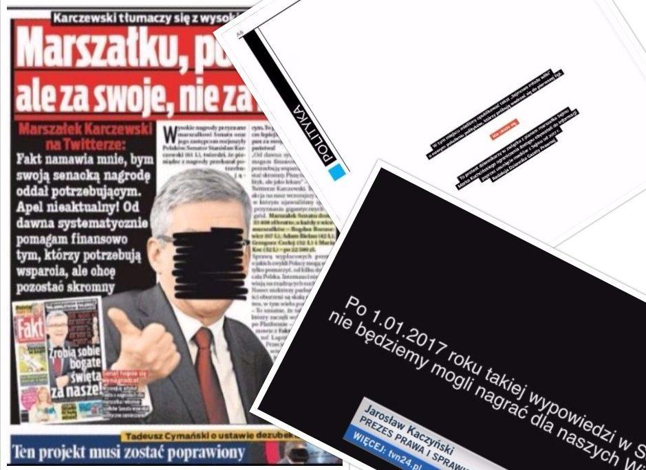 Masowy protest mediów w Polsce. Publikują puste strony i zamazują twarze politykom