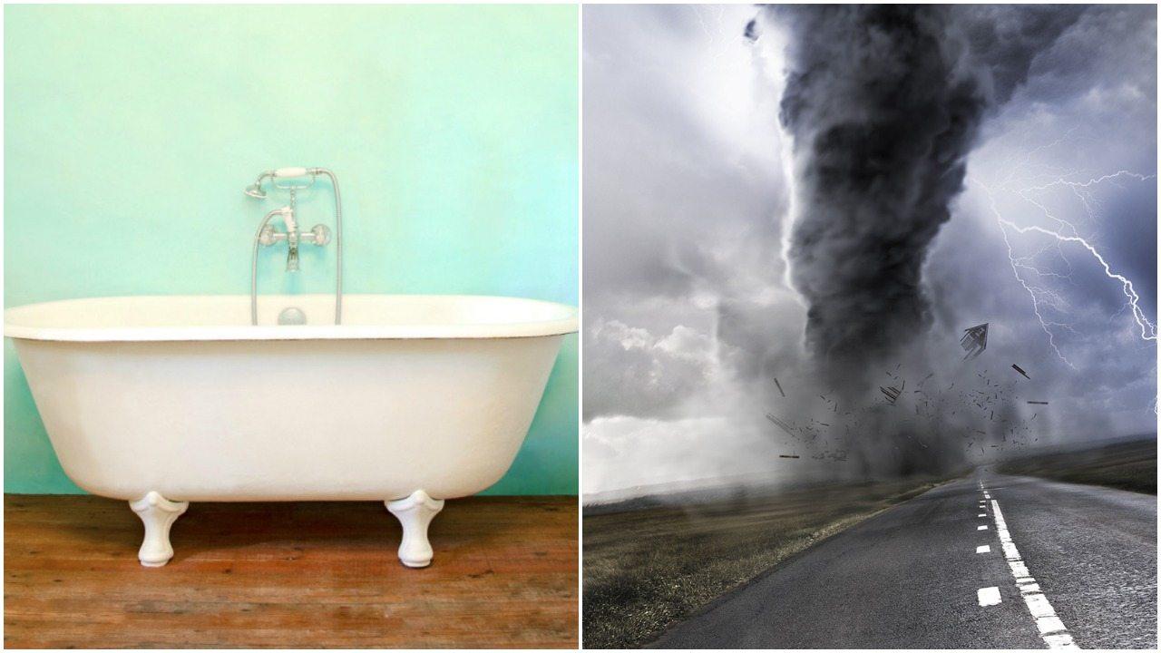 Wstrząśnięta i zmieszana. Tornado porwało kobietę w wannie i odstawiło do lasu