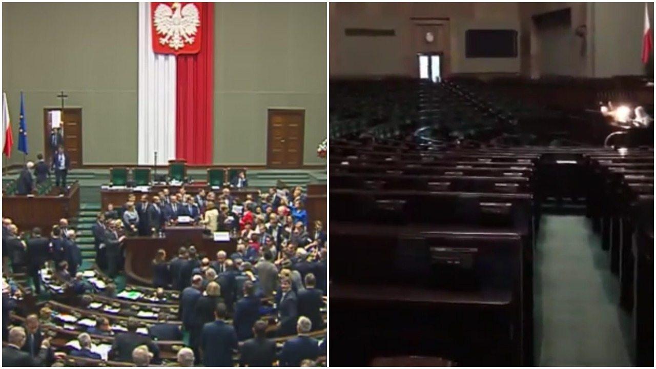 Sala Plenarna świeci pustkami. Koniec protestu czy manipulacja PiS? 2 wersje (video)