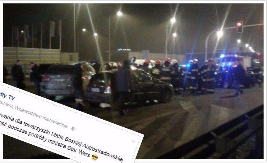 Dziennikarz nabija się z wypadku Macierewicza. Burza w sieci (foto)