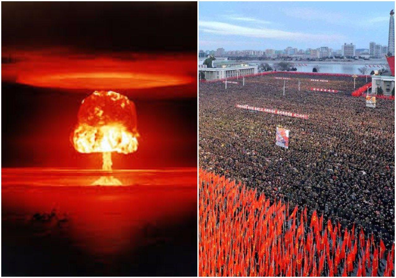 """Korea Północna """"gotowa na wojnę nuklearną z USA"""". Tysiące ludzi na ulicach (ZDJĘCIA)"""