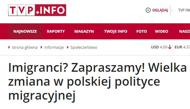 """Rząd i TVP gorąco zachęcają imigrantów do przybycia do Polski. """"U nas wielka zmiana w polityce imigracyjnej"""""""