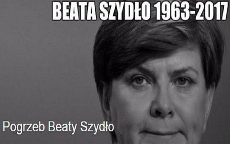 """""""Premier Beata Szydło zmarła, będzie pogrzeb"""" - skandal w sieci (FOTO)"""