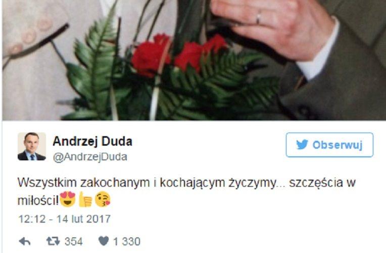 Prezydent pozdrawia zakochanych i publikuje archiwalne zdjęcie. Internet oszalał (FOTO)