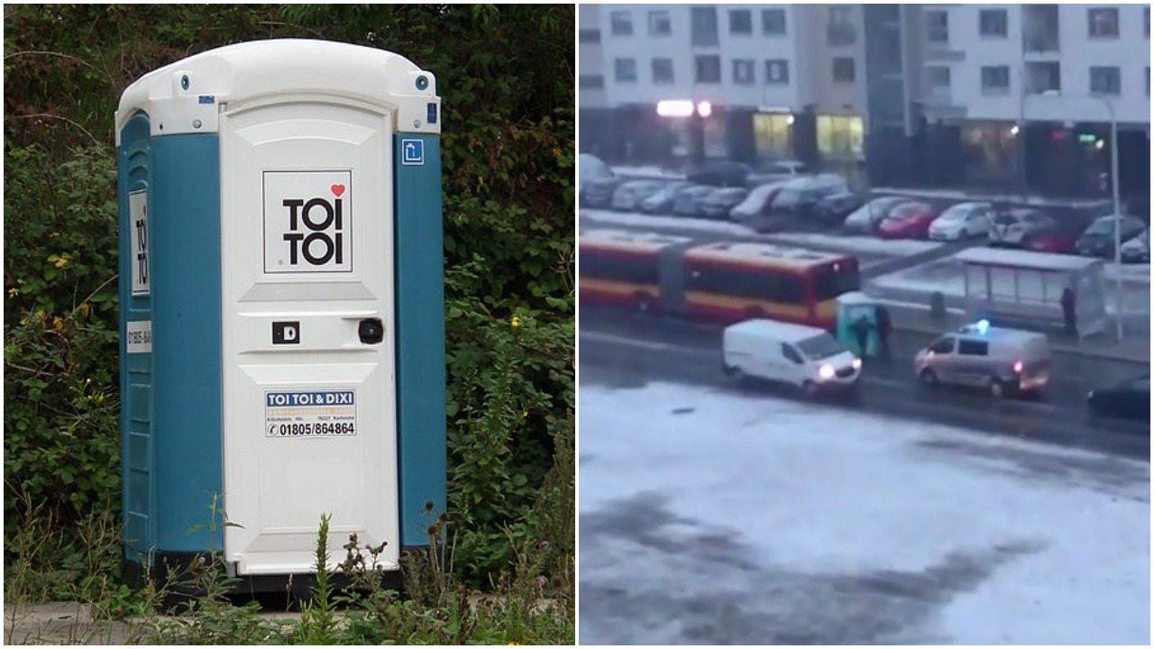 """""""Niespodzianka"""" dla kierowców w Warszawie. Toi toi na środku ulicy (video)"""
