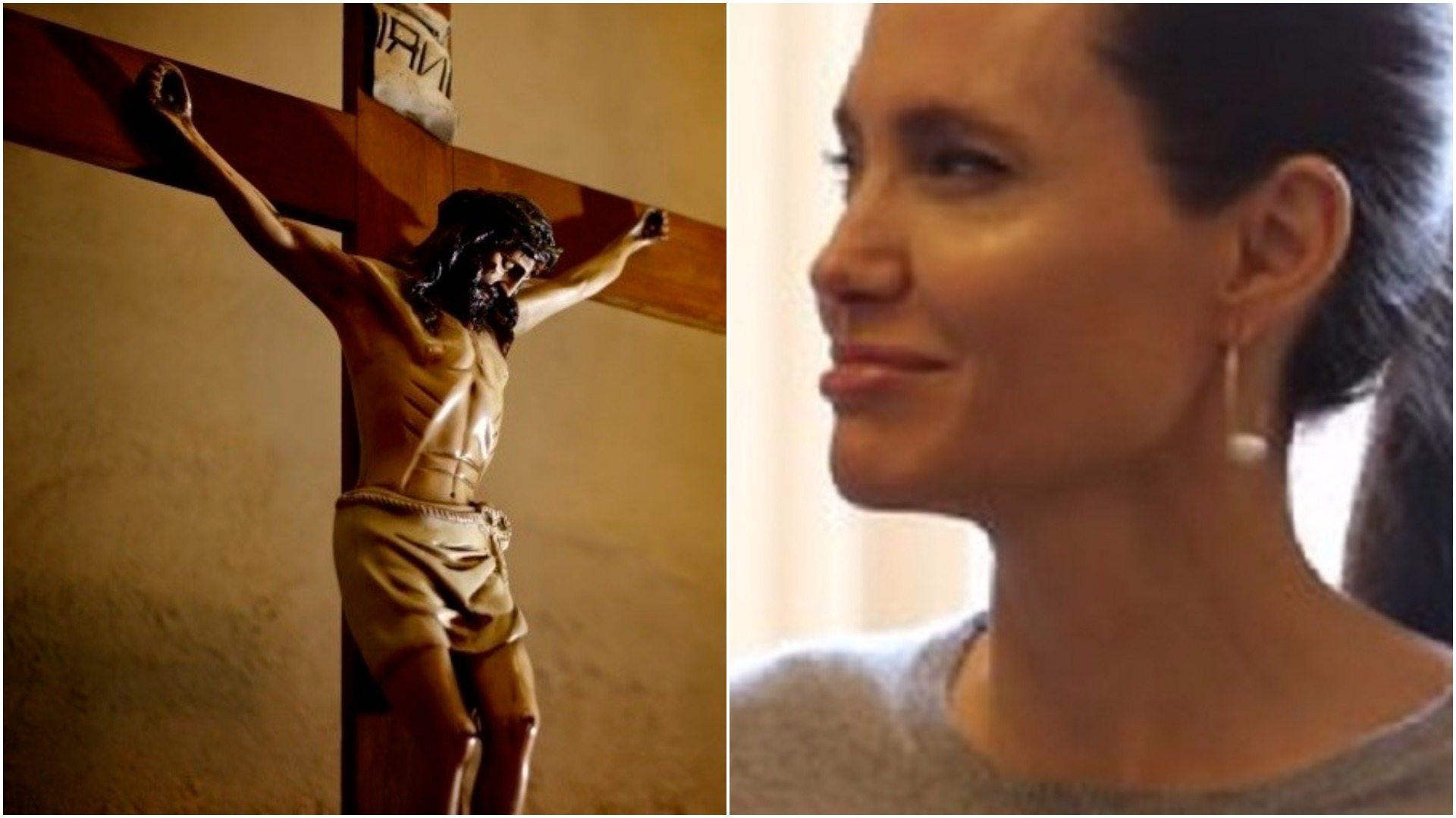 Chrześcijanie oburzeni zachowaniem Angeliny Jolie. Pokazała arcybiskupowi sterczące sutki  (foto)