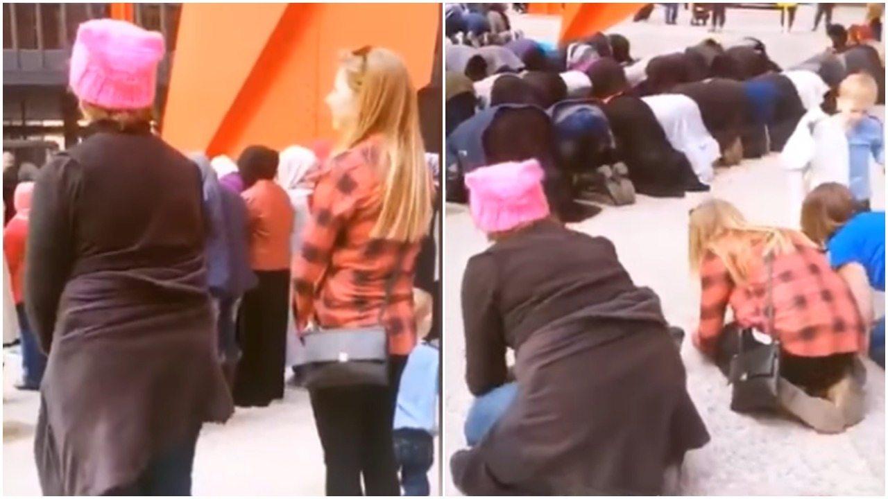 Nietypowy protest: Przeciwniczki Trumpa poszły modlić się do Allaha. Kazali im cicho siedzieć z tyłu (video)