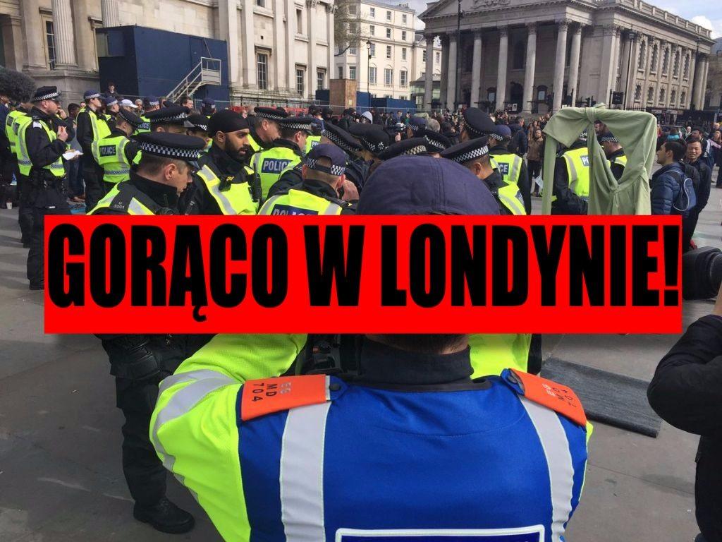 Gorąco w Londynie! Atmosfera na anty-imigranckiej demonstracji coraz bardziej napięta (TRANSMISJA NA ŻYWO)
