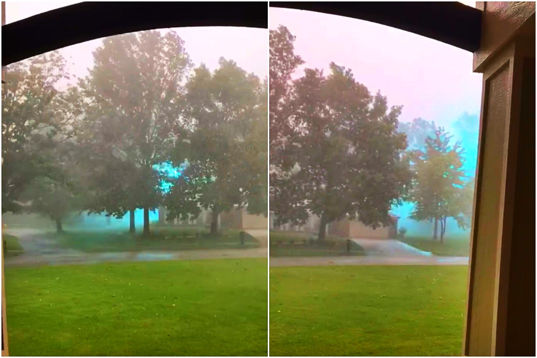 Tajemnicze światła podczas burzy. Cała ulica nagle rozbłysnęła błękitem (VIDEO)