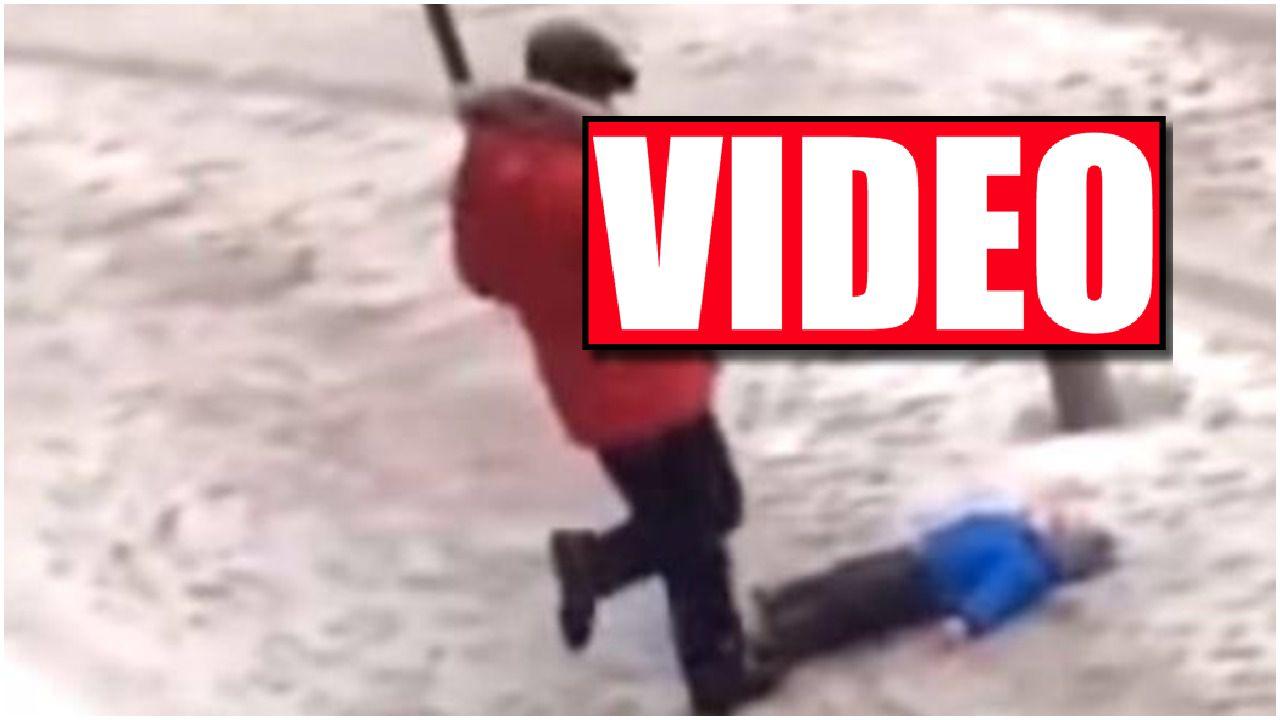 Skopał własnego syna, bo przewrócił się na śniegu. Zatrważające nagranie