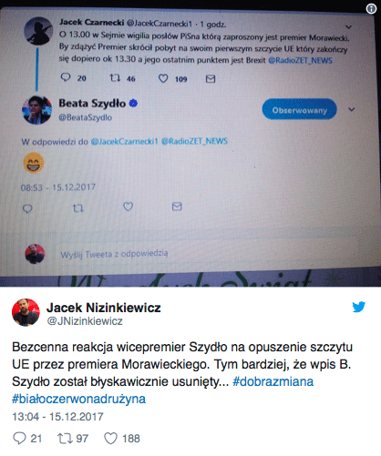 Wpis byłej premier Beaty Szydło