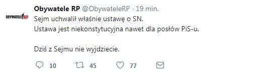 Obywatele RP zapowiadają blokadę Sejmu