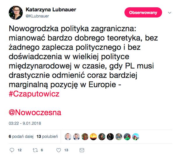 Lubnauer o nowym szefie MSZ