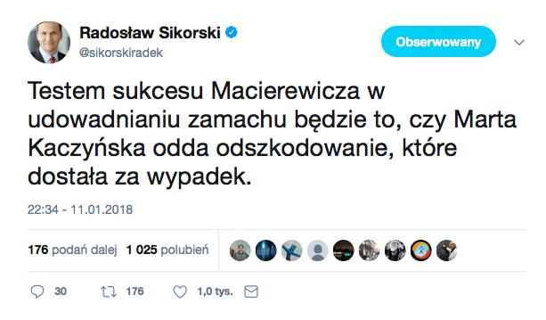 Sikorski zaatakował Kaczyńską