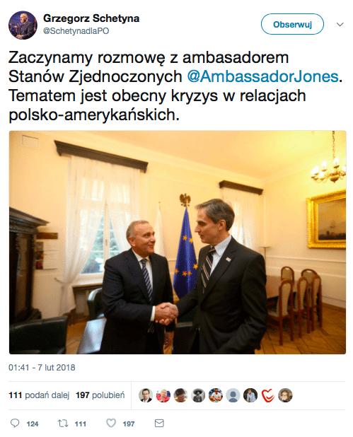 PO podejmuje rozmowy z ambasadorem USA
