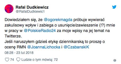 Dziennikarz ujawnia działania Ogórek