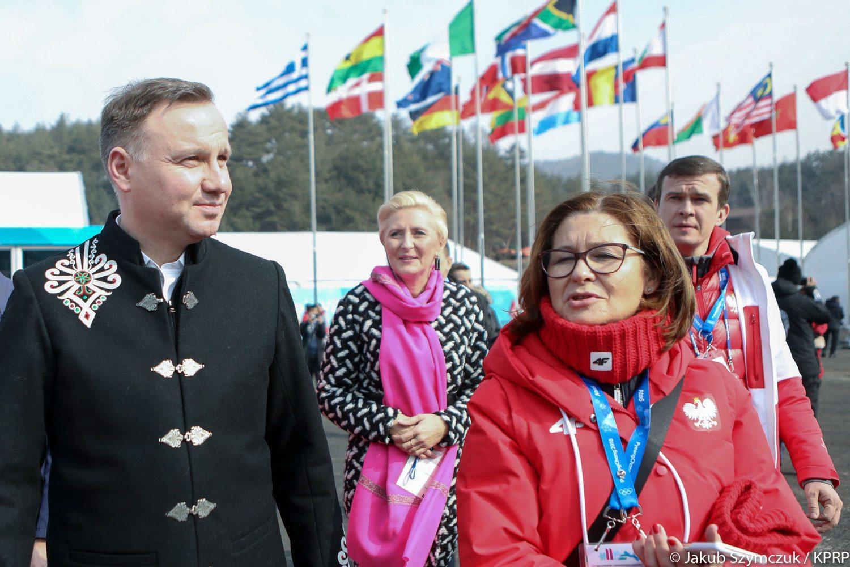 Andrzej Duda z żoną w Pjongczangu