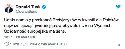 Tusk przekazał Polakom na Wyspach dobre wieści